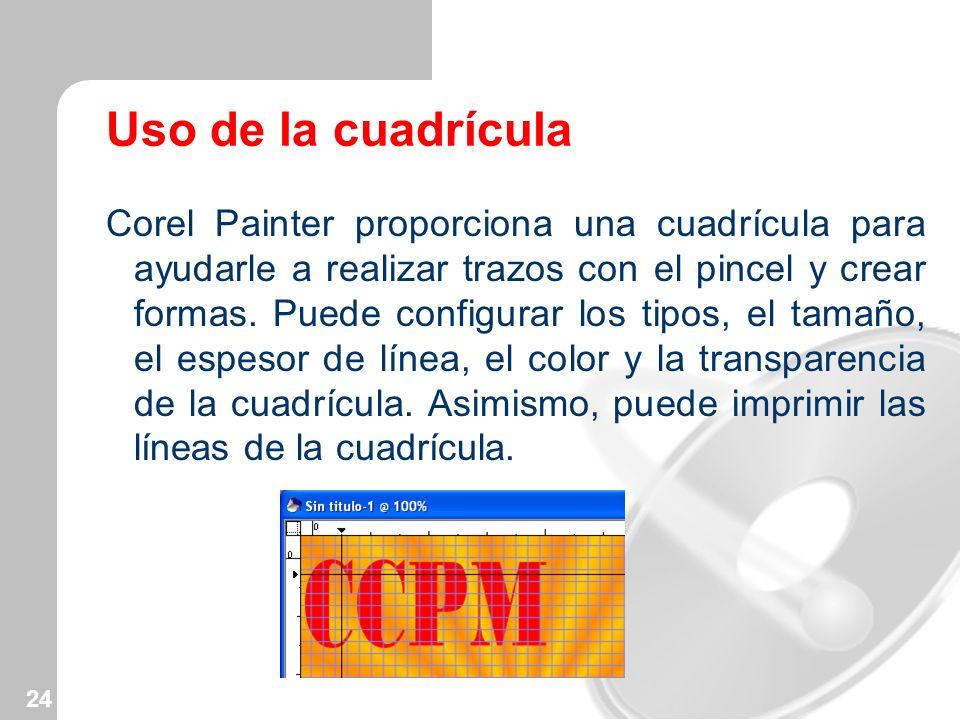 24 Uso de la cuadrícula Corel Painter proporciona una cuadrícula para ayudarle a realizar trazos con el pincel y crear formas. Puede configurar los ti