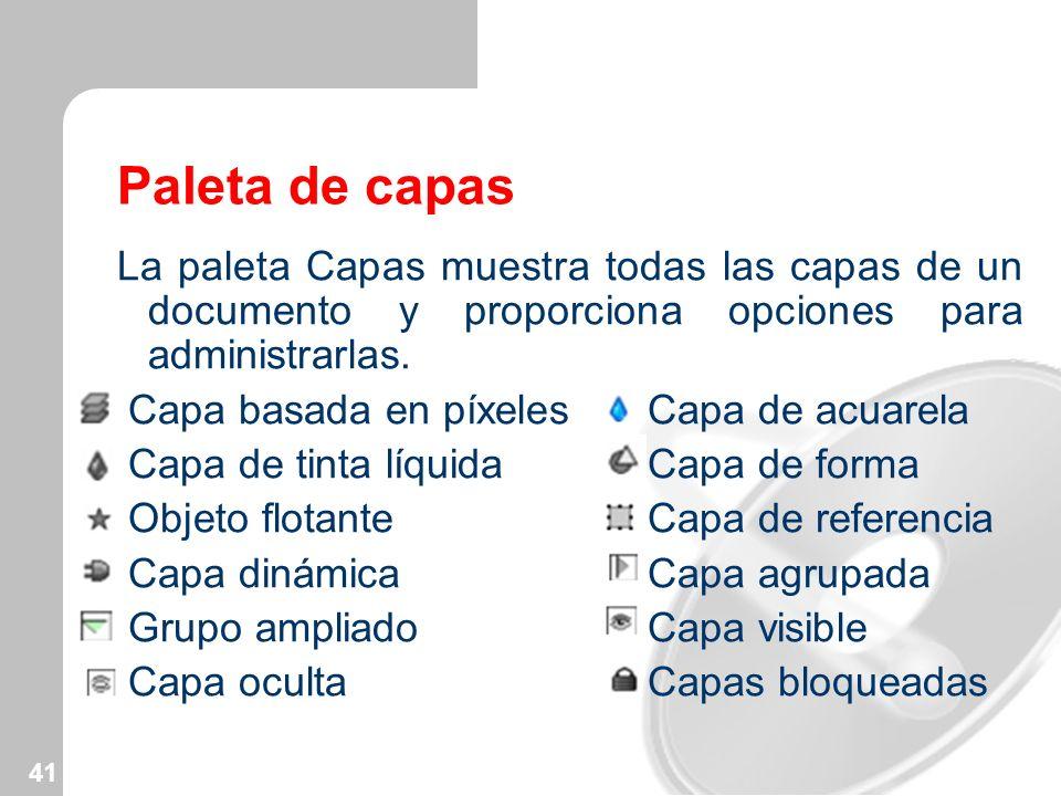41 Paleta de capas La paleta Capas muestra todas las capas de un documento y proporciona opciones para administrarlas. Capa basada en píxeles Capa de