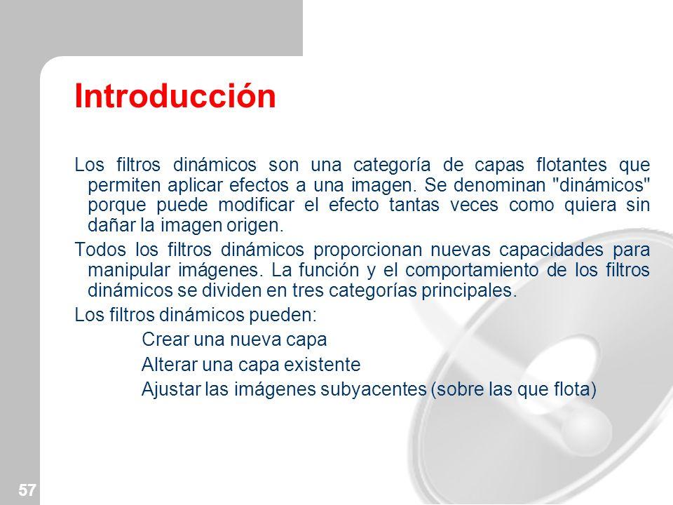 57 Introducción Los filtros dinámicos son una categoría de capas flotantes que permiten aplicar efectos a una imagen. Se denominan