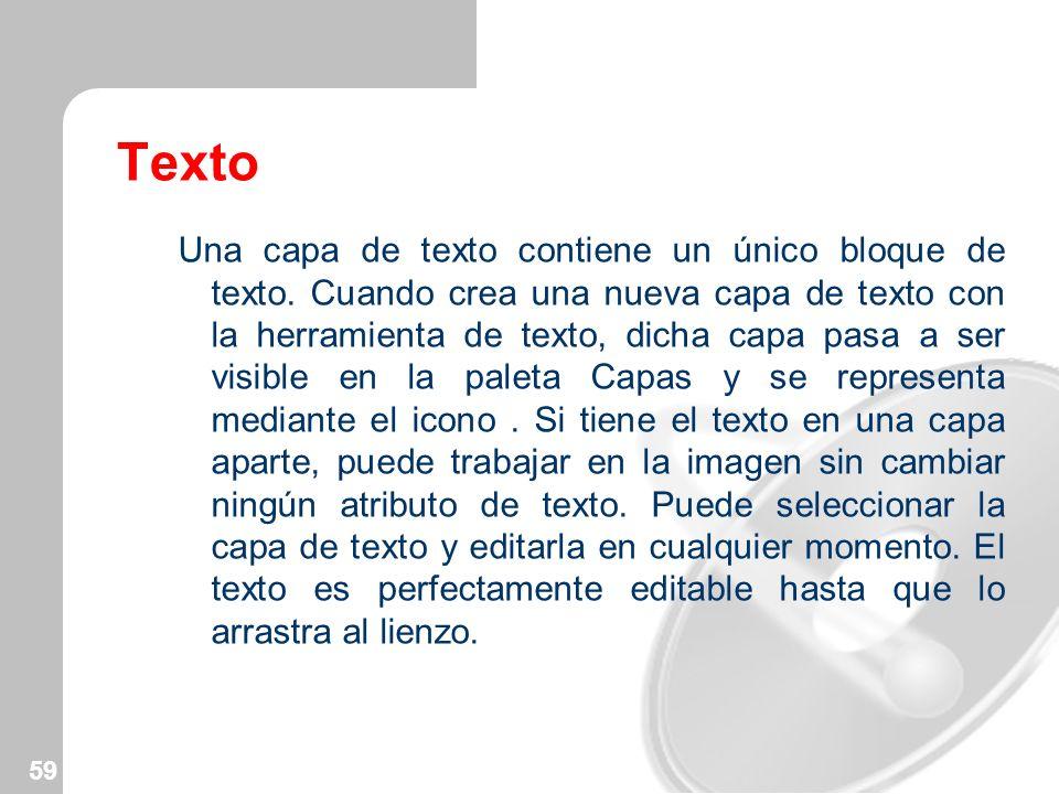 59 Texto Una capa de texto contiene un único bloque de texto. Cuando crea una nueva capa de texto con la herramienta de texto, dicha capa pasa a ser v