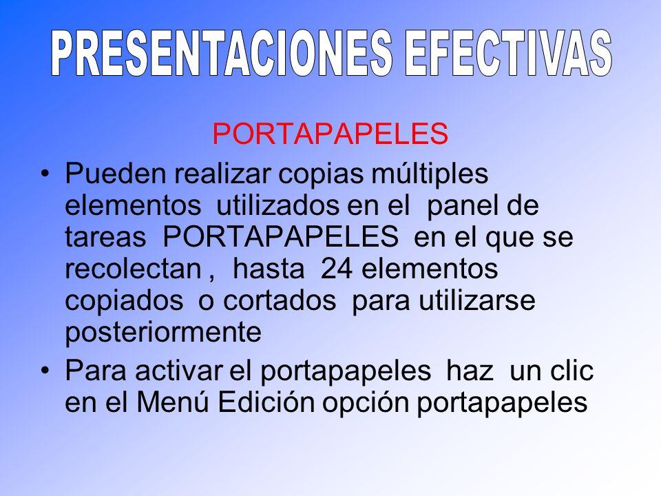 PORTAPAPELES Pueden realizar copias múltiples elementos utilizados en el panel de tareas PORTAPAPELES en el que se recolectan, hasta 24 elementos copi