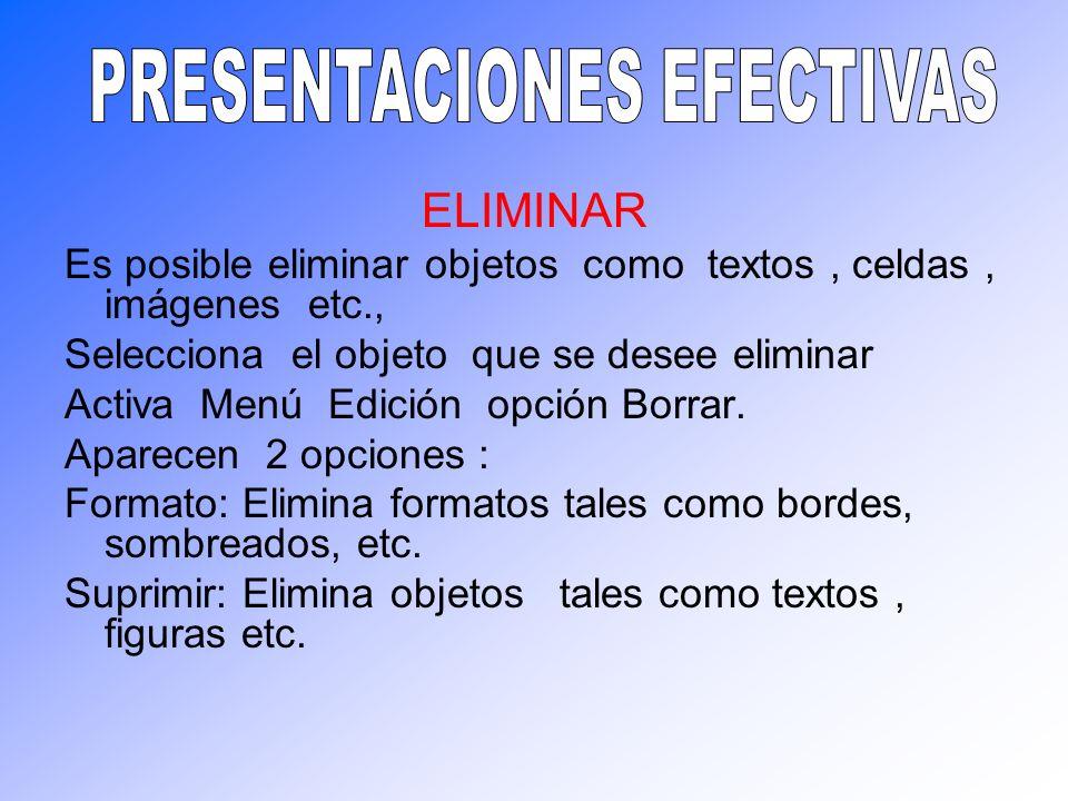ELIMINAR Es posible eliminar objetos como textos, celdas, imágenes etc., Selecciona el objeto que se desee eliminar Activa Menú Edición opción Borrar.