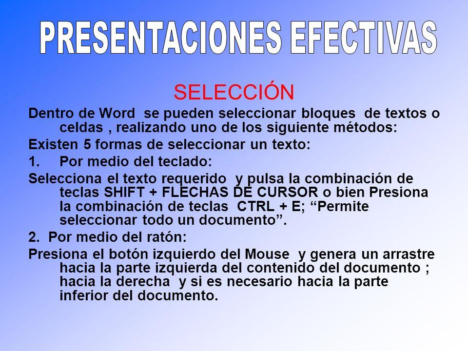 SELECCIÓN Dentro de Word se pueden seleccionar bloques de textos o celdas, realizando uno de los siguiente métodos: Existen 5 formas de seleccionar un
