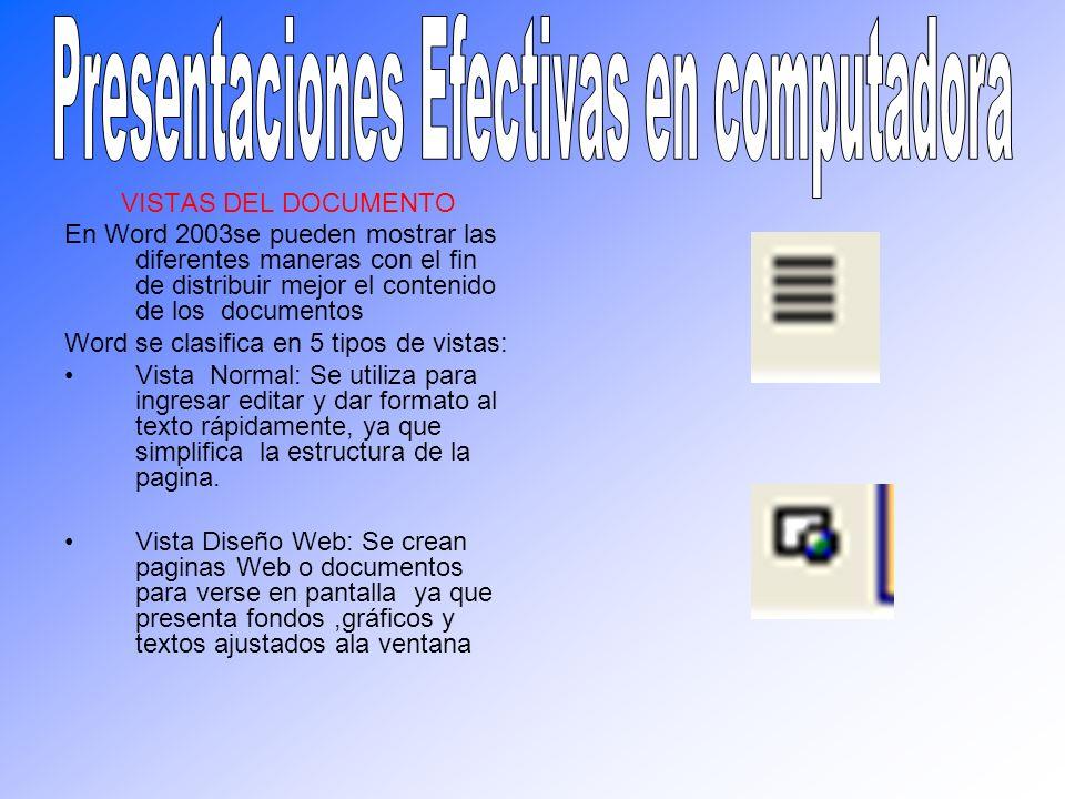 VISTAS DEL DOCUMENTO En Word 2003se pueden mostrar las diferentes maneras con el fin de distribuir mejor el contenido de los documentos Word se clasif