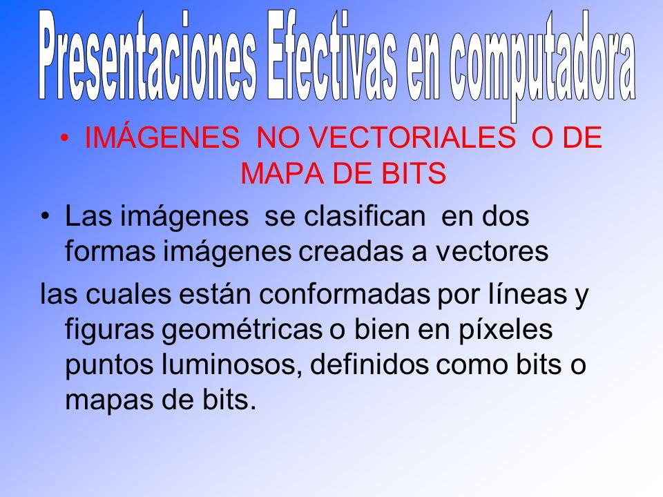 IMÁGENES NO VECTORIALES O DE MAPA DE BITS Las imágenes se clasifican en dos formas imágenes creadas a vectores las cuales están conformadas por líneas