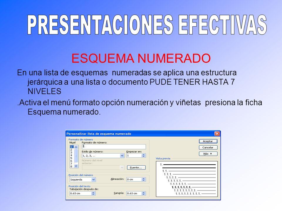 ESQUEMA NUMERADO En una lista de esquemas numeradas se aplica una estructura jerárquica a una lista o documento PUDE TENER HASTA 7 NIVELES.Activa el m