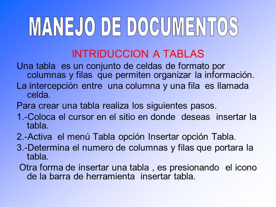 INTRIDUCCION A TABLAS Una tabla es un conjunto de celdas de formato por columnas y filas que permiten organizar la información. La intercepción entre
