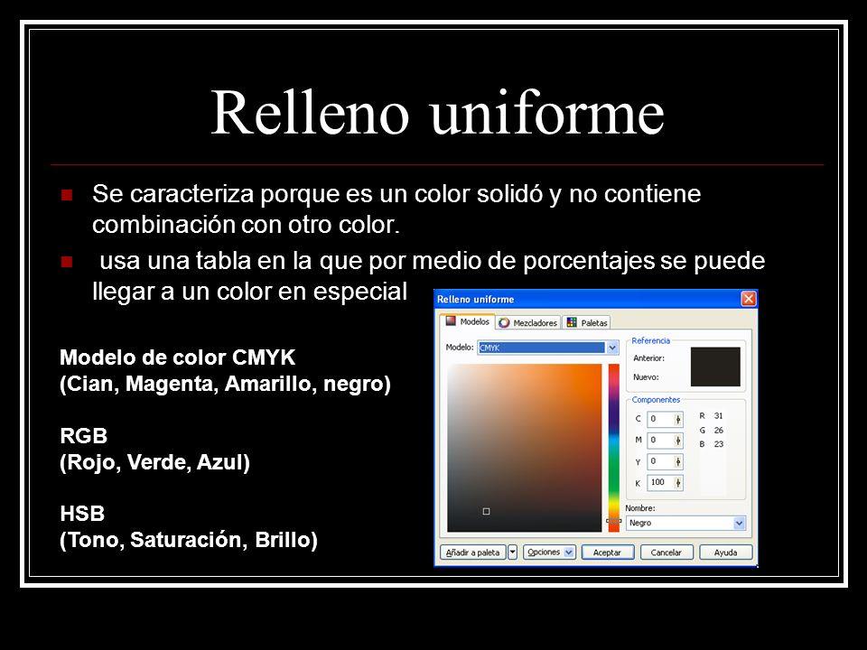 Relleno uniforme Se caracteriza porque es un color solidó y no contiene combinación con otro color.