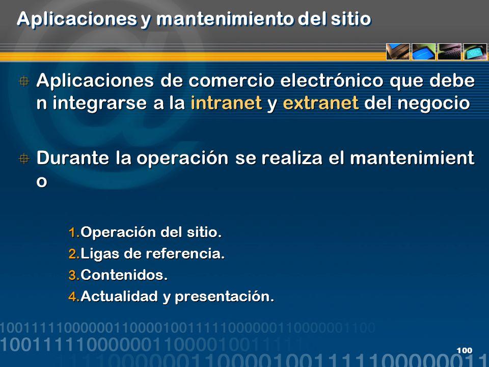100 Aplicaciones y mantenimiento del sitio Aplicaciones de comercio electrónico que debe n integrarse a la intranet y extranet del negocio Durante la