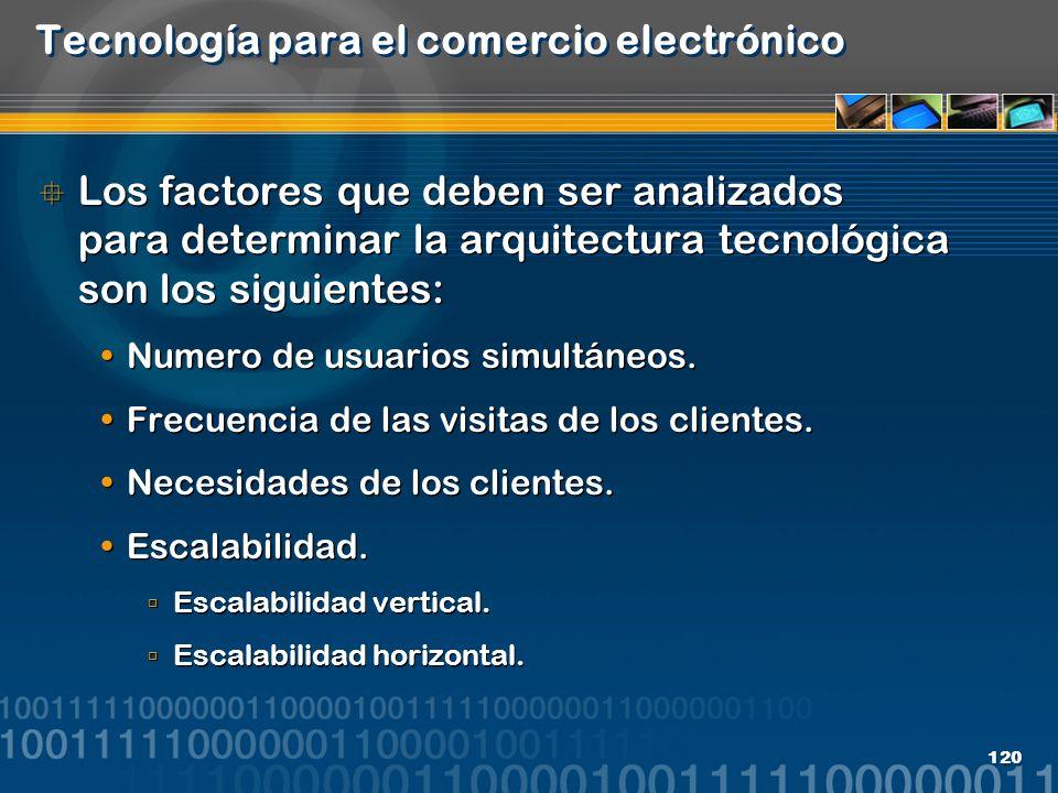 120 Tecnología para el comercio electrónico Los factores que deben ser analizados para determinar la arquitectura tecnológica son los siguientes: Nume