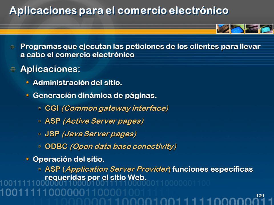 121 Aplicaciones para el comercio electrónico Programas que ejecutan las peticiones de los clientes para llevar a cabo el comercio electrónico Aplicac