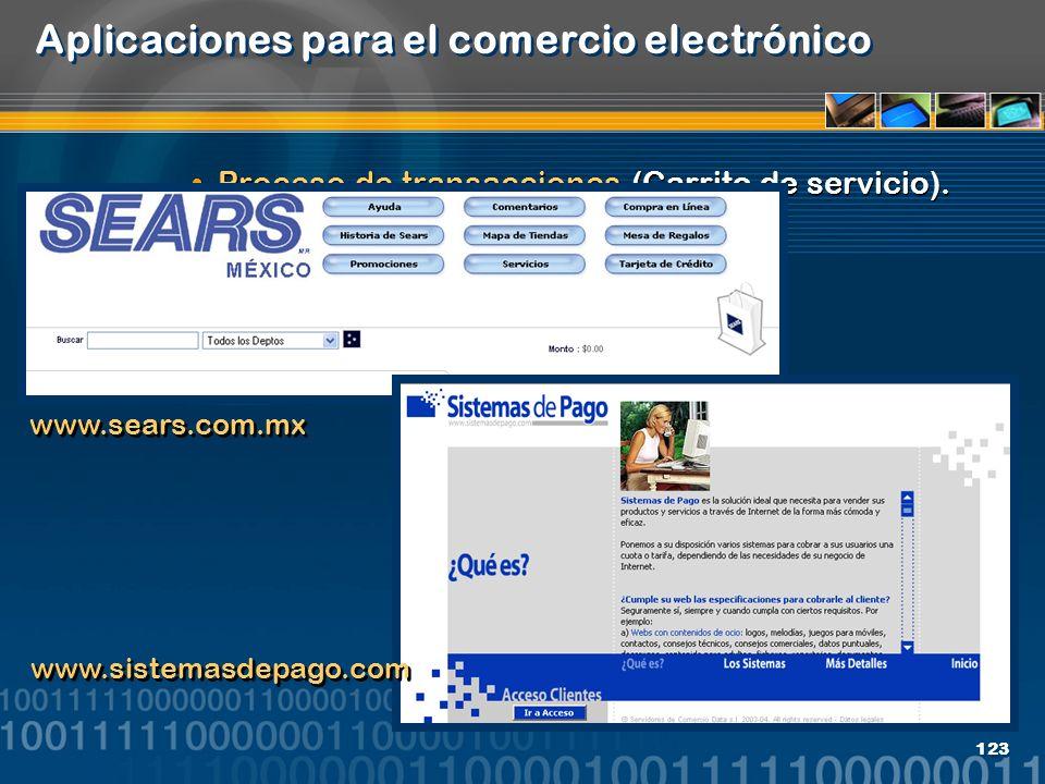 123 Aplicaciones para el comercio electrónico Proceso de transacciones (Carrito de servicio). www.sears.com.mx www.sistemasdepago.com