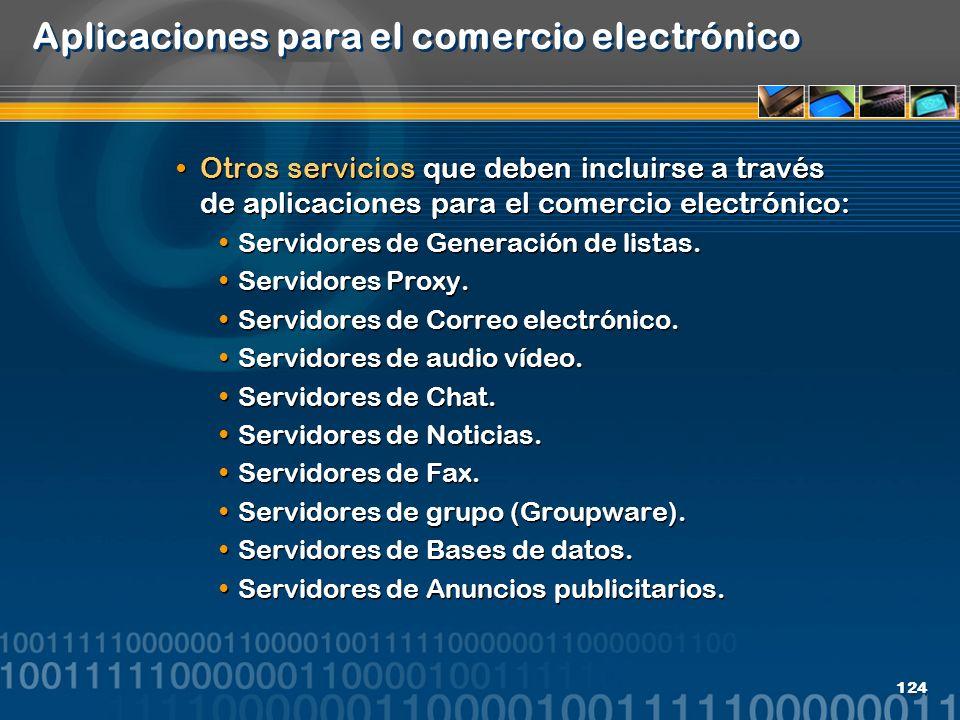 124 Aplicaciones para el comercio electrónico Otros servicios que deben incluirse a través de aplicaciones para el comercio electrónico: Servidores de