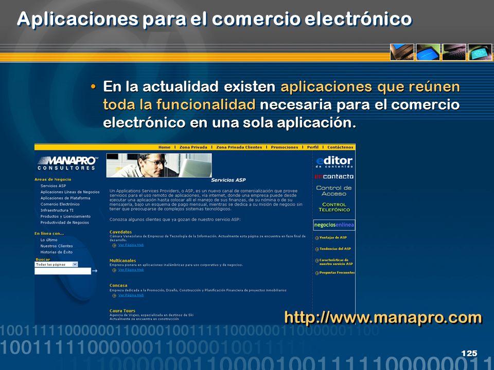 125 Aplicaciones para el comercio electrónico En la actualidad existen aplicaciones que reúnen toda la funcionalidad necesaria para el comercio electr