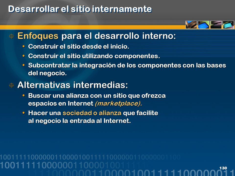 130 Desarrollar el sitio internamente Enfoques para el desarrollo interno: Construir el sitio desde el inicio. Construir el sitio utilizando component