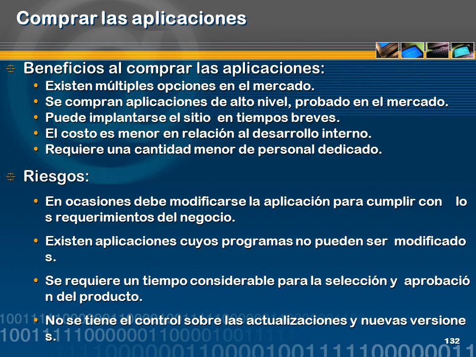 132 Comprar las aplicaciones Beneficios al comprar las aplicaciones: Existen múltiples opciones en el mercado. Se compran aplicaciones de alto nivel,