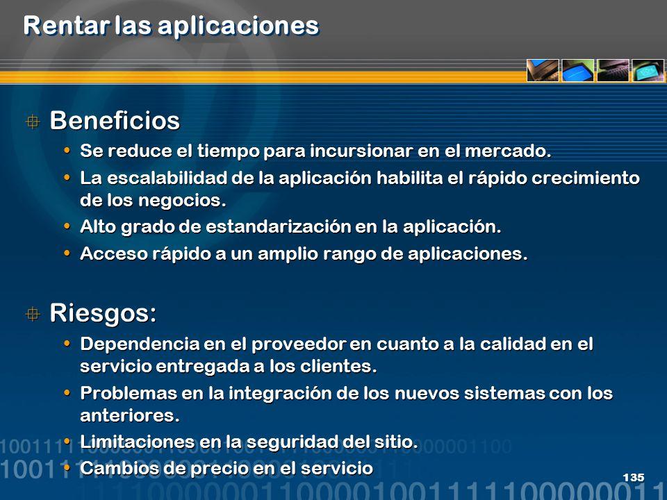 135 Rentar las aplicaciones Beneficios Se reduce el tiempo para incursionar en el mercado. La escalabilidad de la aplicación habilita el rápido crecim