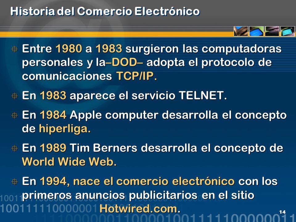 14 Historia del Comercio Electrónico Entre 1980 a 1983 surgieron las computadoras personales y la–DOD– adopta el protocolo de comunicaciones TCP/IP. E