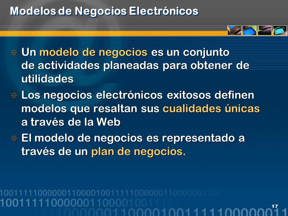17 Modelos de Negocios Electrónicos Un modelo de negocios es un conjunto de actividades planeadas para obtener de utilidades Los negocios electrónicos