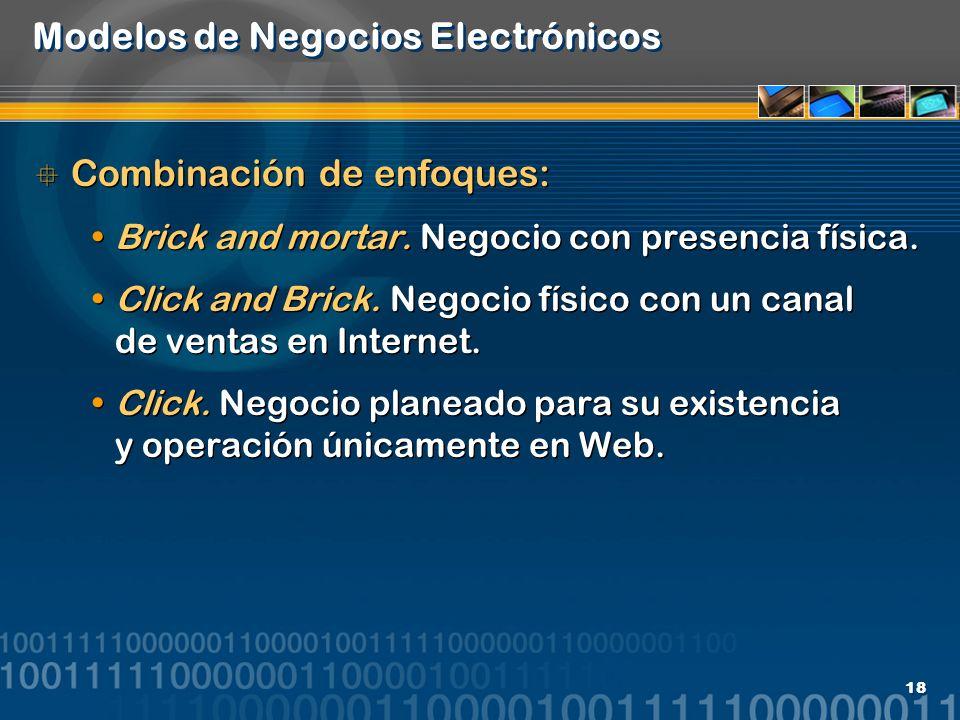 18 Modelos de Negocios Electrónicos Combinación de enfoques: Brick and mortar. Negocio con presencia física. Click and Brick. Negocio físico con un ca