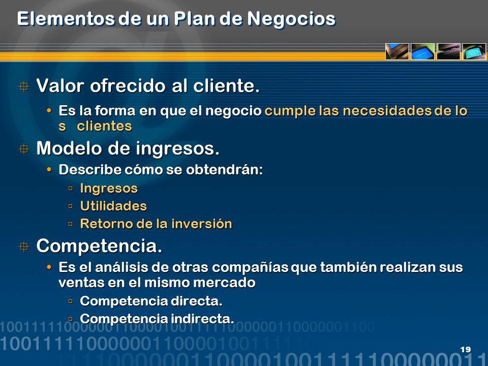 19 Elementos de un Plan de Negocios Valor ofrecido al cliente. Es la forma en que el negocio cumple las necesidades de lo s clientes Modelo de ingreso