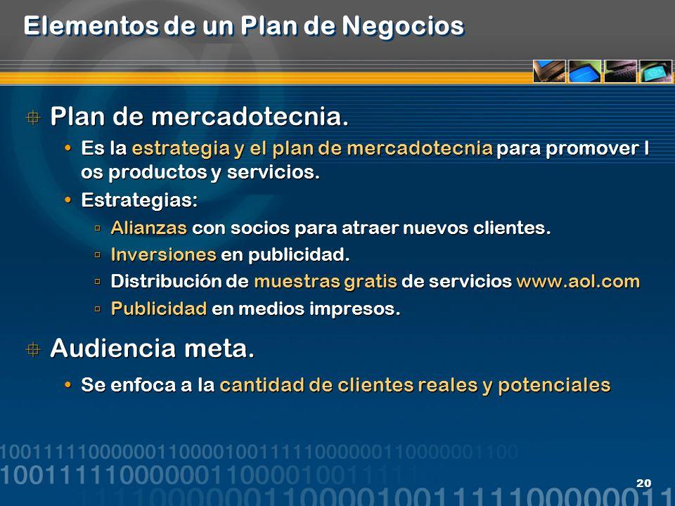 20 Elementos de un Plan de Negocios Plan de mercadotecnia. Es la estrategia y el plan de mercadotecnia para promover l os productos y servicios. Estra