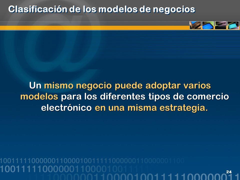 24 Clasificación de los modelos de negocios Un mismo negocio puede adoptar varios modelos para los diferentes tipos de comercio electrónico en una mis