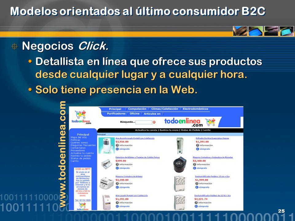 25 Modelos orientados al último consumidor B2C Negocios Click. Detallista en línea que ofrece sus productos desde cualquier lugar y a cualquier hora.