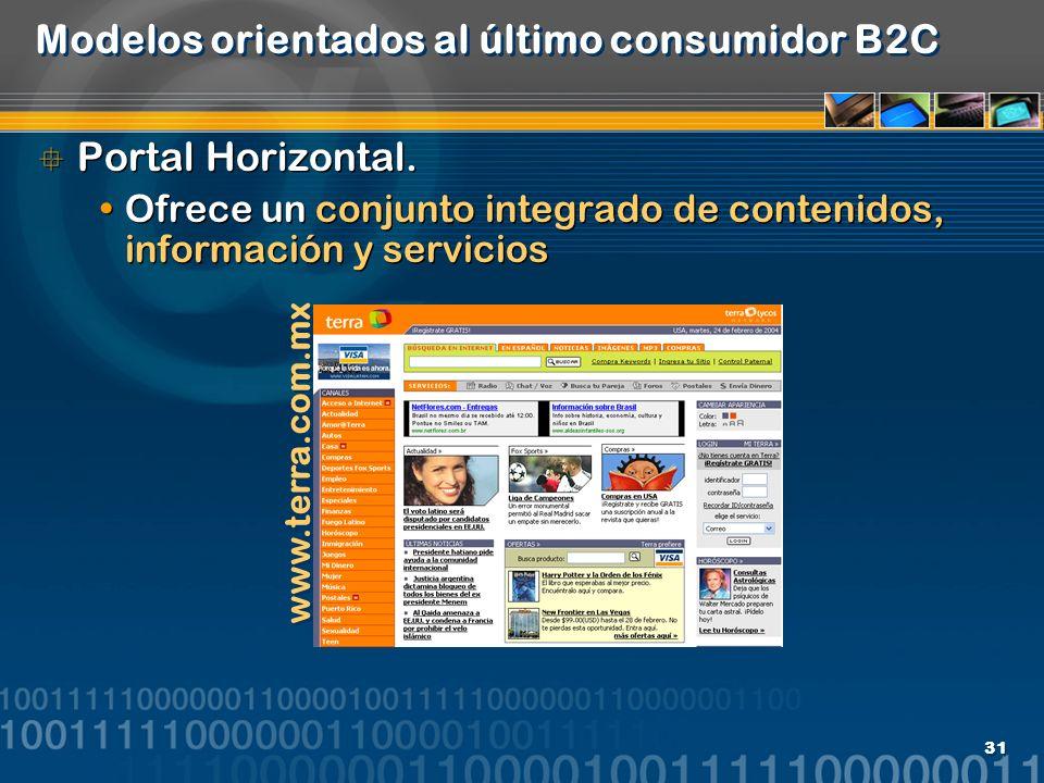 31 Modelos orientados al último consumidor B2C Portal Horizontal. Ofrece un conjunto integrado de contenidos, información y servicios Portal Horizonta