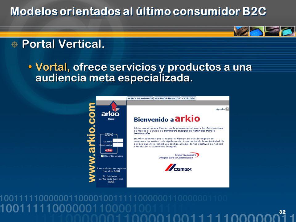 32 Modelos orientados al último consumidor B2C Portal Vertical. Vortal, ofrece servicios y productos a una audiencia meta especializada. Portal Vertic