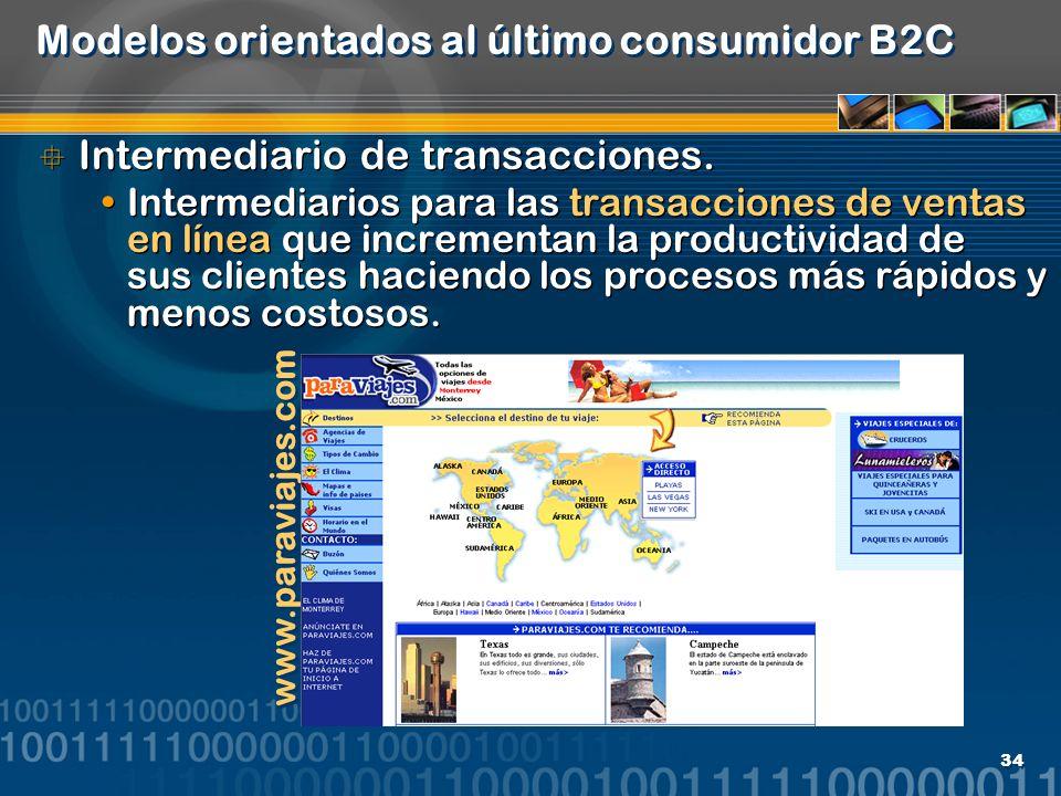34 Modelos orientados al último consumidor B2C Intermediario de transacciones. Intermediarios para las transacciones de ventas en línea que incrementa