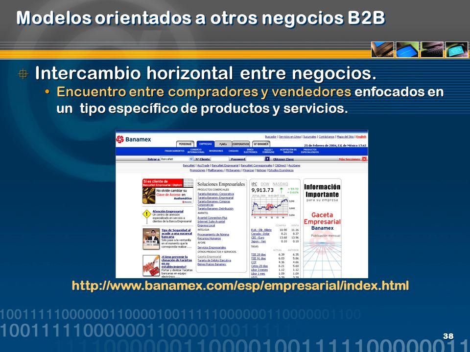 38 Modelos orientados a otros negocios B2B Intercambio horizontal entre negocios. Encuentro entre compradores y vendedores enfocados en un tipo especí