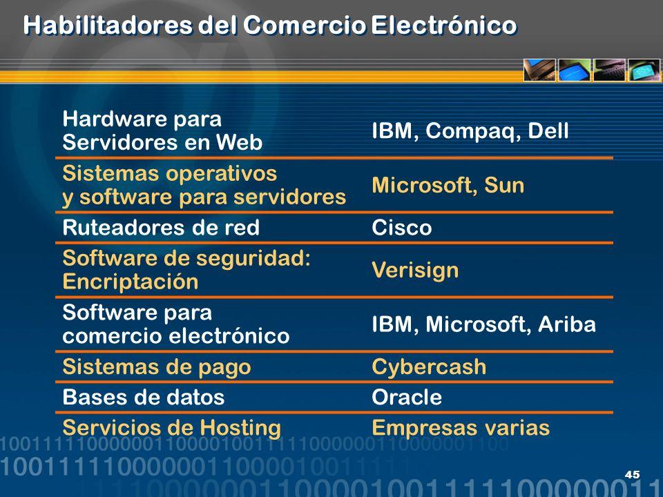 45 Habilitadores del Comercio Electrónico Hardware para Servidores en Web IBM, Compaq, Dell Sistemas operativos y software para servidores Microsoft,