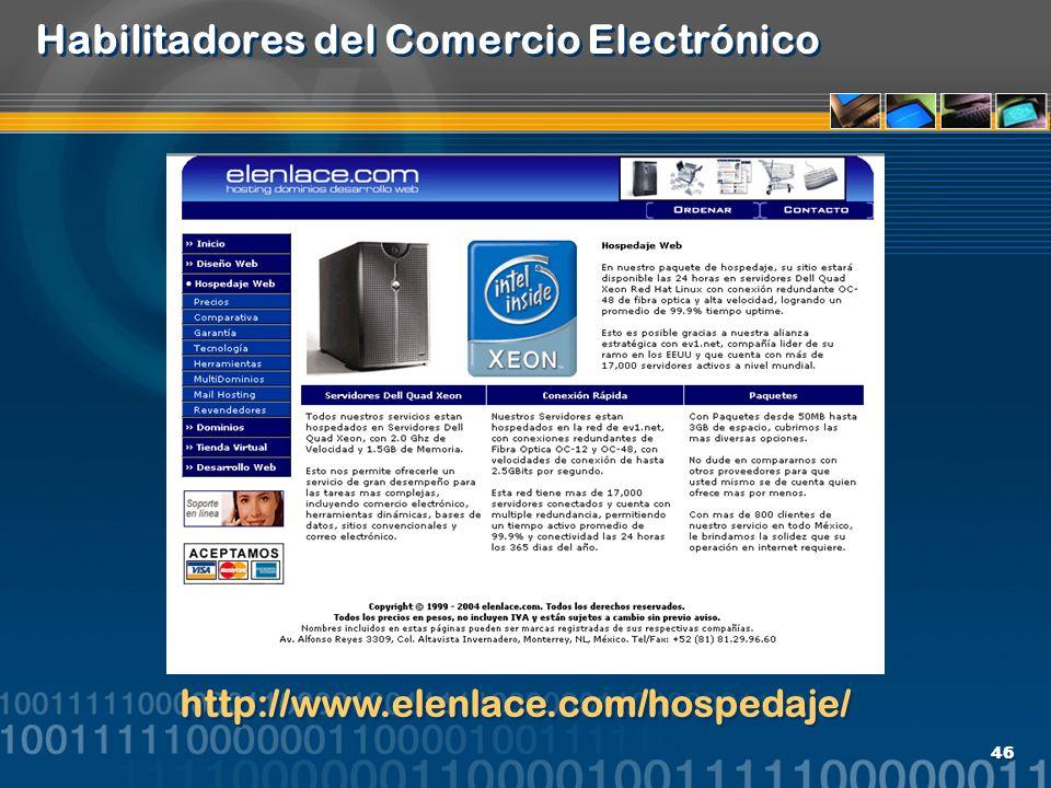 46 Habilitadores del Comercio Electrónico http://www.elenlace.com/hospedaje/