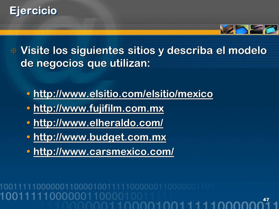 47 Ejercicio Visite los siguientes sitios y describa el modelo de negocios que utilizan: http://www.elsitio.com/elsitio/mexico http://www.fujifilm.com