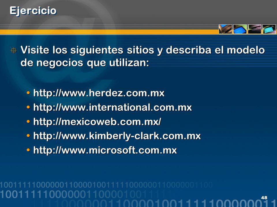 48 Ejercicio Visite los siguientes sitios y describa el modelo de negocios que utilizan: http://www.herdez.com.mx http://www.international.com.mx http