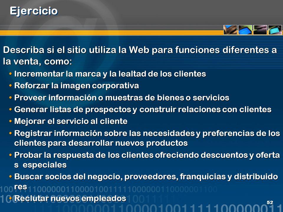 52 Ejercicio Describa si el sitio utiliza la Web para funciones diferentes a la venta, como: Incrementar la marca y la lealtad de los clientes Reforza