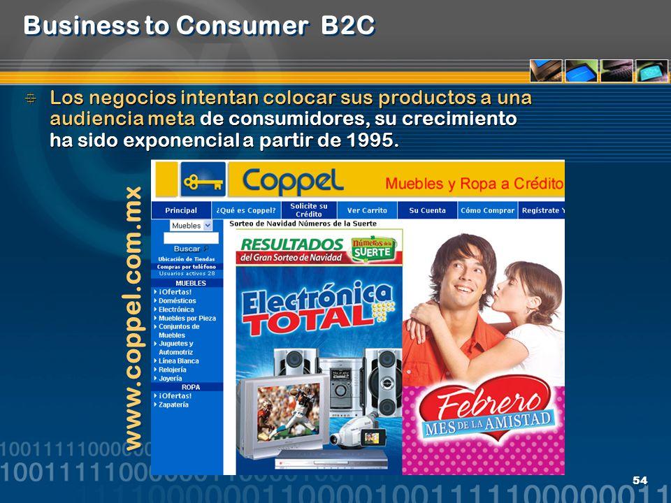 54 Business to Consumer B2C Los negocios intentan colocar sus productos a una audiencia meta de consumidores, su crecimiento ha sido exponencial a par