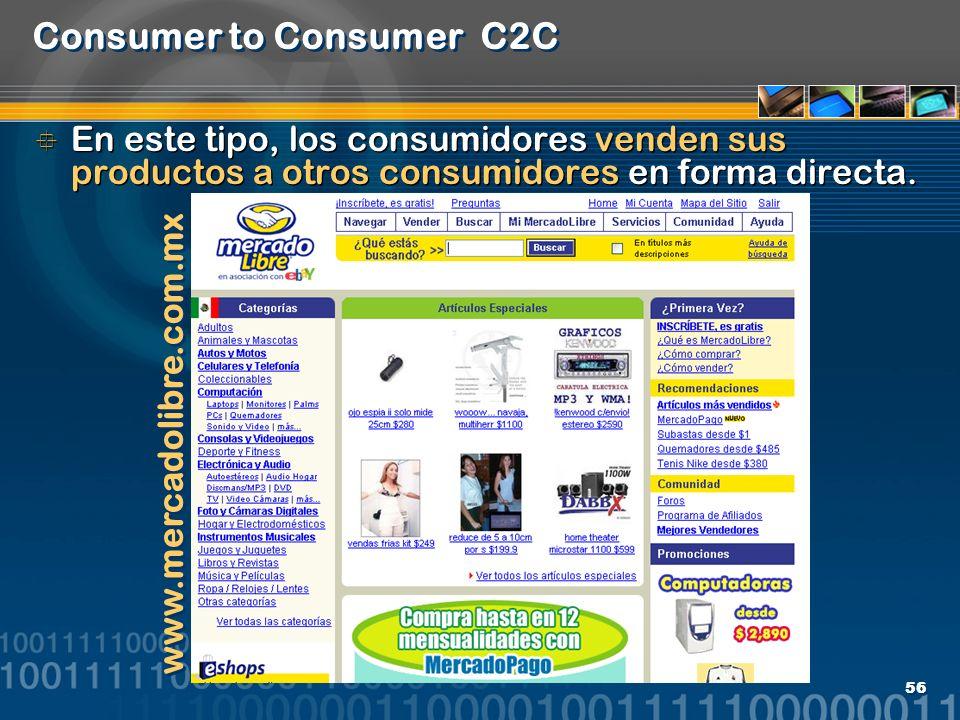 56 Consumer to Consumer C2C En este tipo, los consumidores venden sus productos a otros consumidores en forma directa. www.mercadolibre.com.mx