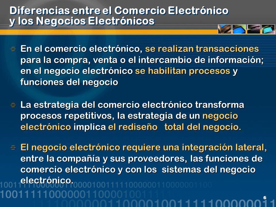 6 Diferencias entre el Comercio Electrónico y los Negocios Electrónicos En el comercio electrónico, se realizan transacciones para la compra, venta o