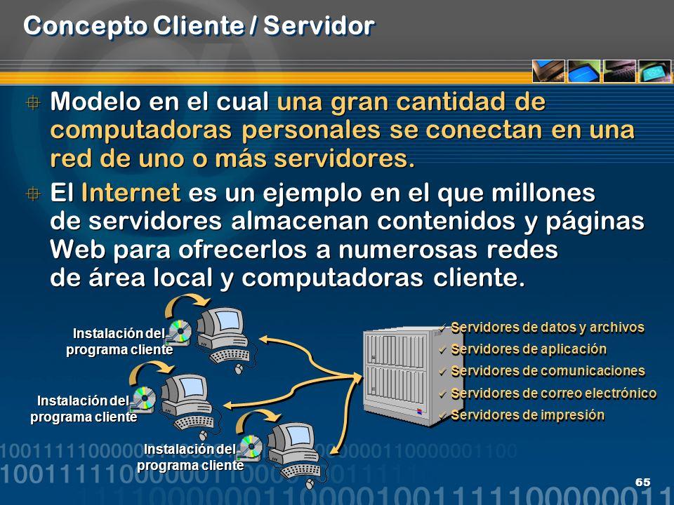 65 Concepto Cliente / Servidor Modelo en el cual una gran cantidad de computadoras personales se conectan en una red de uno o más servidores. El Inter