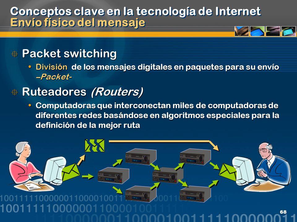 68 Conceptos clave en la tecnología de Internet Envío físico del mensaje Packet switching División de los mensajes digitales en paquetes para su envío