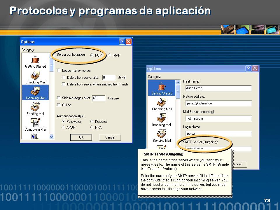 73 Protocolos y programas de aplicación