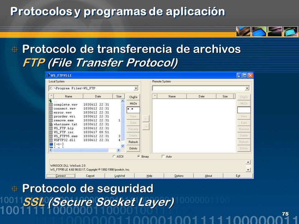 75 Protocolos y programas de aplicación Protocolo de transferencia de archivos FTP (File Transfer Protocol) Protocolo de seguridad SSL (Secure Socket