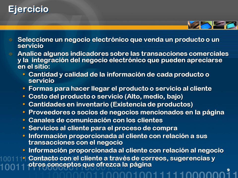 9 Ejercicio Seleccione un negocio electrónico que venda un producto o un servicio Analice algunos indicadores sobre las transacciones comerciales y la