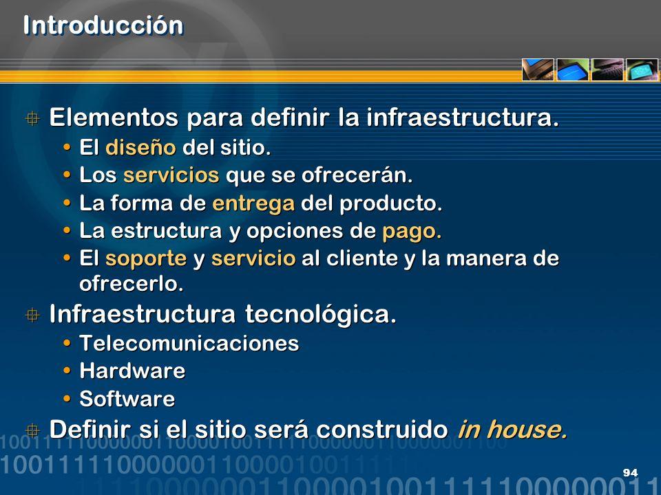 94 Introducción Elementos para definir la infraestructura. El diseño del sitio. Los servicios que se ofrecerán. La forma de entrega del producto. La e