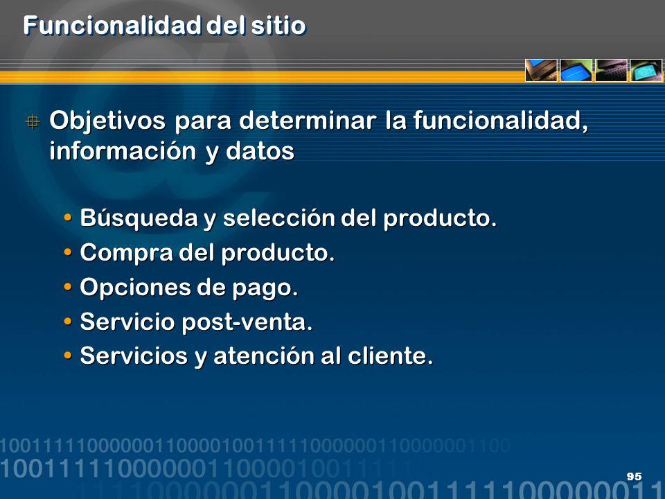 95 Funcionalidad del sitio Objetivos para determinar la funcionalidad, información y datos Búsqueda y selección del producto. Compra del producto. Opc
