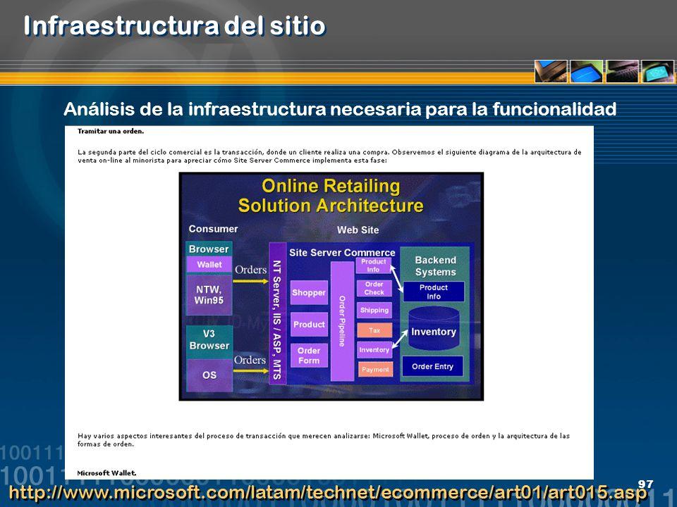 97 Infraestructura del sitio http://www.microsoft.com/latam/technet/ecommerce/art01/art015.asp Análisis de la infraestructura necesaria para la funcio
