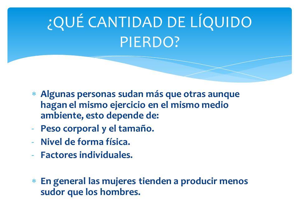 Se puede calcular la pérdida de sudor, y por tanto cuánto líquido hay que beber, pesándose antes y después de hacer ejercicio.