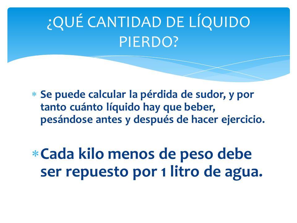 DESPUÉS DEL EJERCICIO: Consumir el equivalente a 1.5 veces (el 150%) del líquido perdido durante el ejercicio.